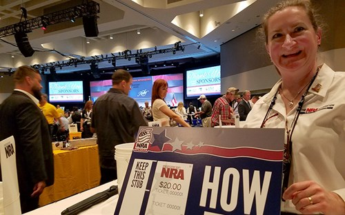 Jackie Emslie volunteering at the 2017 National NRA Foundation Banquet